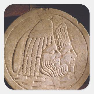 Oscillum depicting theatrical masks square sticker