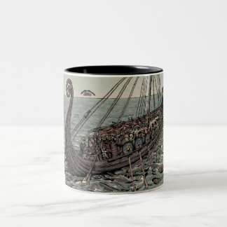 Oseberg ship Two-Tone coffee mug