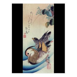 Oshidori Mandarin Ducks by Ando Hiroshige c. 1830 Postcard