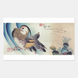 Oshidori Mandarin Ducks by Ando Hiroshige c. 1830 Rectangular Sticker
