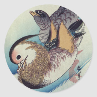 Oshidori Mandarin Ducks by Ando Hiroshige c. 1830 Round Sticker