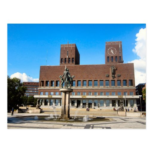 Oslo City Hall, statue, fountain Post Card
