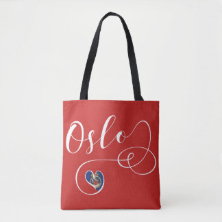 Oslo Heart Grocery Bag, Norway Tote Bag