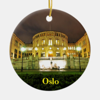 Oslo, Norway at night Christmas Ornament
