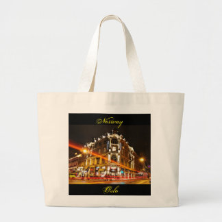 Oslo, Norway at night Large Tote Bag