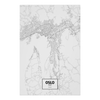 Oslo, Norway (black on white) Poster