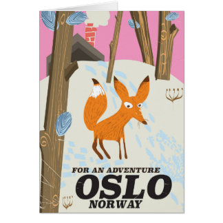 Oslo Norway fox vintage travel poster Card