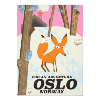 Oslo Norway fox vintage travel poster Photograph
