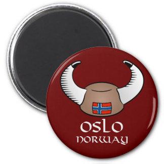 Oslo Norway Viking Hat 6 Cm Round Magnet