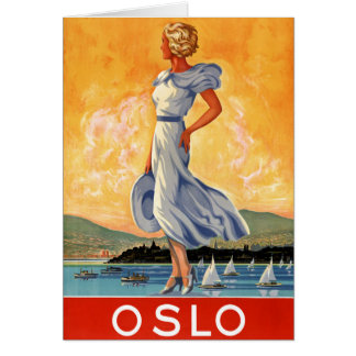 Oslo Norway Vintage Travel Poster Restored Card