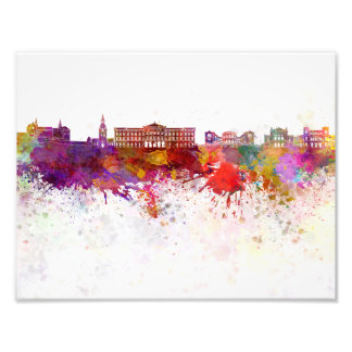 Oslo skyline in watercolor background photo print