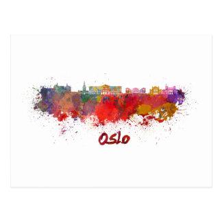 Oslo skyline in watercolor postcard