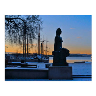 Oslo waterfront and marina postcard