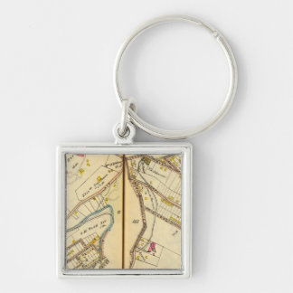Ossining, New York 3 Silver-Colored Square Key Ring