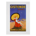 Ostend Queen of beaches 1920s beauty summer travel Poster