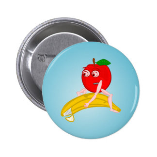 Osteopath Fruit Funny Apple Straightening a Banana 6 Cm Round Badge