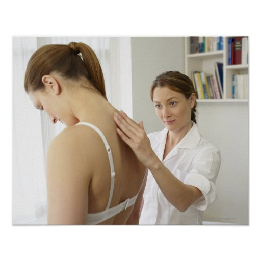 Osteopath treating patient. posters