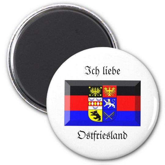 Ostfriesland Flag Gem 6 Cm Round Magnet