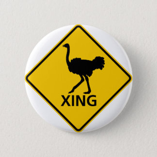 Ostrich Crossing Highway Sign 6 Cm Round Badge