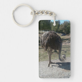 Ostrich Double-Sided Rectangular Acrylic Key Ring