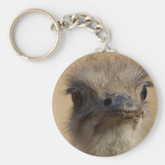 Ostrich Face Basic Round Button Key Ring