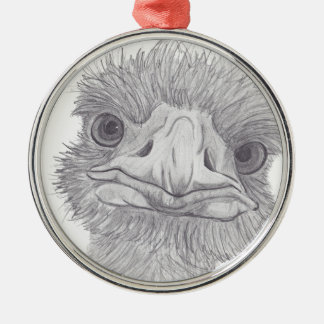 Ostrich Face Christmas Ornament