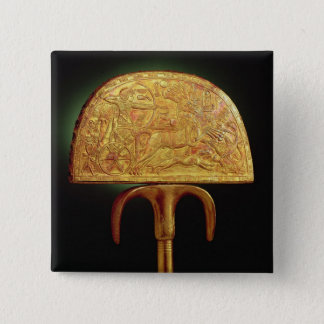 Ostrich-feather fan, from Tomb of Tutankhamun 15 Cm Square Badge