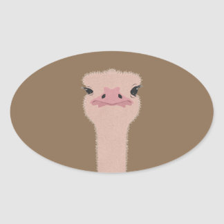Ostrich funny face oval sticker
