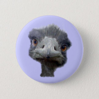 Ostrich head 6 cm round badge