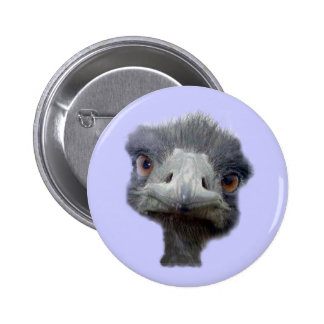 Ostrich head 6 cm round badge