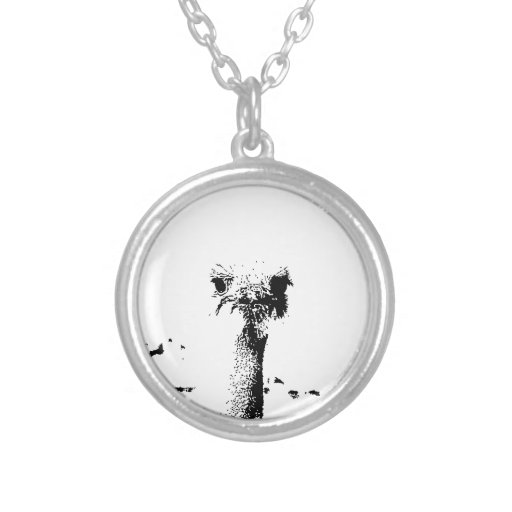 Ostrich Head in Pen and Ink Jewelry