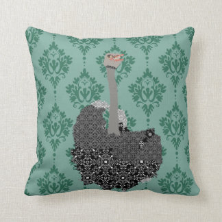 Ostrich Jade Damask Mojo Pillow
