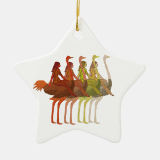 Ostrich Riding Christmas Ornament
