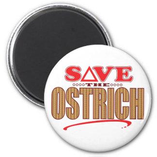 Ostrich Save 6 Cm Round Magnet