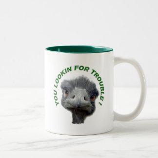 Ostrich trouble Two-Tone coffee mug