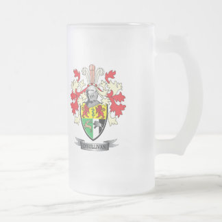 O'Sullivan Coat of Arms Frosted Glass Beer Mug