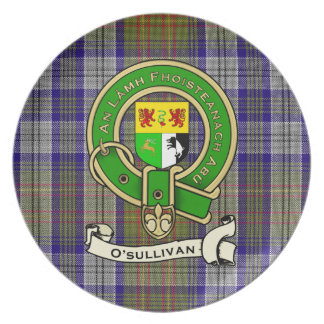 O'Sullivan Family Tartan Plaid & Clan Crest Badge Plate