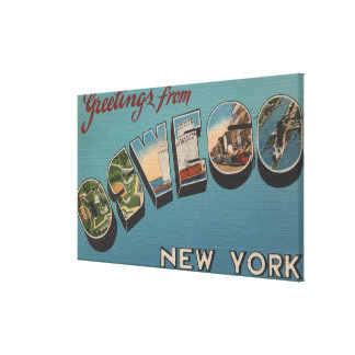 Oswego, New York - Large Letter Scenes Gallery Wrapped Canvas