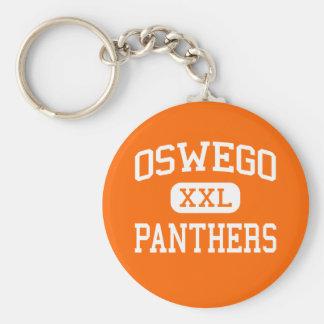 Oswego - Panthers - High School - Oswego Illinois Basic Round Button Key Ring