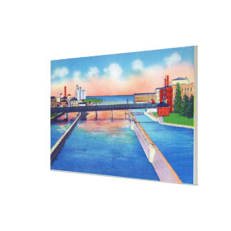 Oswego River View of Canal Locks & Harbor Gallery Wrapped Canvas