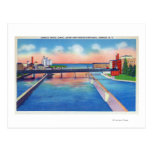 Oswego River View of Canal Locks & Harbour Postcard
