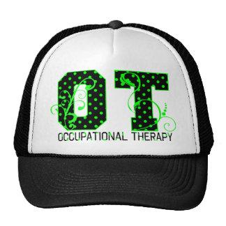 ot green and black polka dots cap