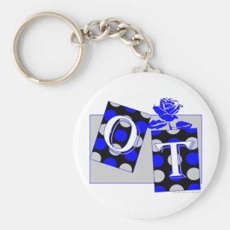 ot letter blocks blue and gray key ring