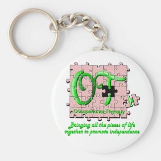 ot puzzle pink and green basic round button key ring
