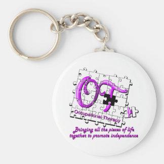 ot puzzle purple basic round button key ring