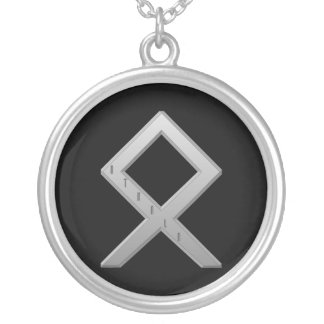 Othala Rune grey Silver Plated Necklace
