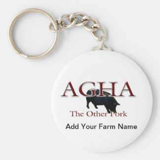 Other Pork, Add Your Farm Name Basic Round Button Key Ring