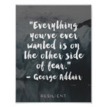 """Other Side of Fear"" Cursive Quote Poster"