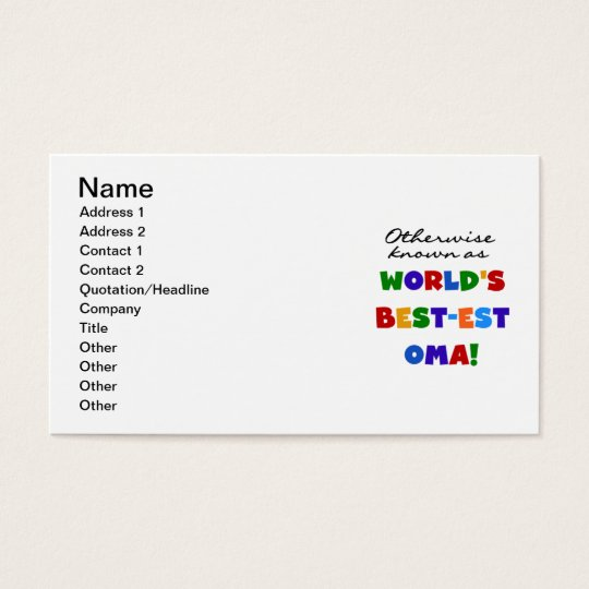 Otherwise Known as Best-est Oma Tshirts and Gifts Business Card