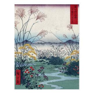 Otsuki fields by Hiroshige, Vintage Japanese Print Postcard